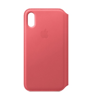 iPhone XS Leather Folio Peony Pink